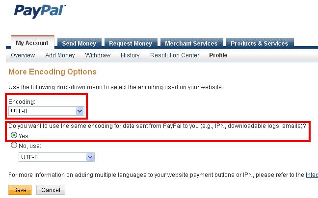 Параметры кодировки в профиле PayPal для работы с системой бронирования театральных билетов TBooking